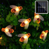 20 / 50LED Solar Powered Cute Honey Bee Led String Fairy Light Bee Outdoor Garden Fence Patio Christmas Garland Lights