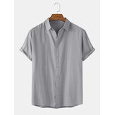 Mens Cotton Breathable Solid Color Short Sleeve Lapel Collar Shirts