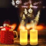 Batterie Flocon de neige de Noël alimenté LED Télécommande sans flamme à projection de flammes