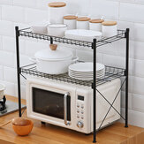 Multilayer Stainless Steel Microwave Oven Storage Shelf Pots Pans Seasoning Standing Type Holders