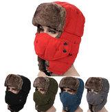 Hommes Velour Hiver Russe Chapeau pour Plein Air avec Masque du Ski Coupe-vent Chapeau Lei Feng