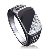 Trendy Alloy Ring Crystal Ring Anneau de doigt Rectangle strass pour hommes