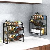 黒い調味料ラックキッチン家庭用3層ストレージラック