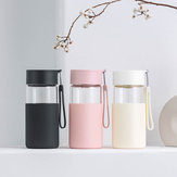 Fun Home 350ml Glass Water Bottle Insulation Vacuun Cup Drinking Mug With Silicone Cover from