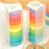 10 Rolls Rainbow Paper Tapes Adhesive Stickers Candy Color Decorative Tapes Stationery For Scrapbook Supplies