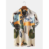 Mens Tropical Floral Print Breathable Short Sleeve Casual Shirts