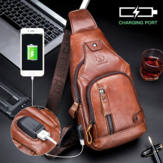 Bullcaptain Genuine Leather USB Charging Large Capacity Business Casual Chest Bag Shoulder Crossbody Bag