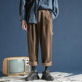 पुरुषों की विंटेज शीतकालीन कॉरडरॉय बहु जेब ढीली पैंट