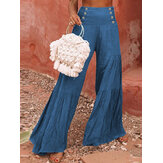 Women Cotton Solid Color High Waist Pleat Wide Leg Pants