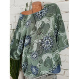 Plus Size Casual O-neck Long Sleeve Printed Loose Blouse