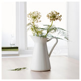 Blanco vendimia Shabby Chic Crema Jarrón Esmalte Jarra Jug Pot Metal Tall Boda Decor