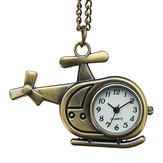 DEFFRUN Fashion Helicopter Bronze Quartz Pocket Watch