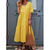 Pure Color V-neck Short Sleeve Pleated Casual Dress