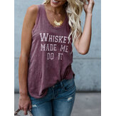Casual Letter Print Round Neck Sleeveless Basic Tank Top