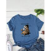 Vrouwen Grappige Luiaard Slogan Print O-hals Korte Mouw Dagelijks Comfortabel T-shirt