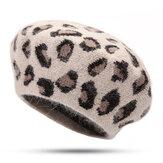 女性暖かいレトロヒョウウサギの毛皮ニットベレーオクタゴンキャップ