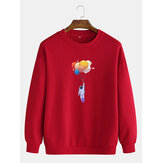 Mens Cotton Astronaut & Balloon Print Drop Shoulder Pullover Cute Long Sleeve Sweatshirts