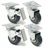 4 pezzi 50 millimetri freno ruote girevoli in gomma piroettanti trolley caster pesanti