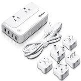 Baban 200W 100-260V to 110V Voltage Converter 4-Port USB Charging Port Travel Plug Adapter