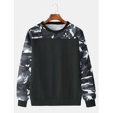 Erkekler Moda Casual Siyah Kamuflaj Ekip Boyun Sweatshirt