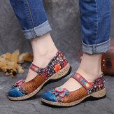 SOCOFY Retro Flower Splicing Floral Genuine Leather Hook Loop Flat Shoes