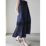 Casual Grid Printed Sleeveless Vintage Side Pocket Maxi Dress For Women