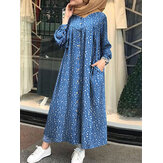 Women Polka Dots Printed Button Down Side Pockets Bohemian Long Sleeve Pleated Robe Maxi Dress