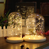 Display de Vidro claro Dome Cloche Bell Jar Base De Madeira DIY Decorações Com 20 LED Fairy String Light