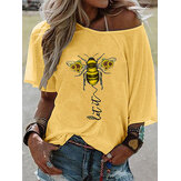 Plus Size Bee Chrysanthemum Print Loose Casual Blouse