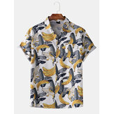 Men Casual Hawaii Banana Print Patchwork Pocket Holiday Shirts