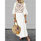 Женская рукава с длинными рукавами богемного макси с цветочным принтом 3/4 Платье