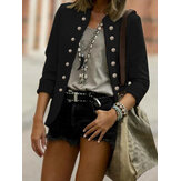 Women Button Front Vintage Solid Color Long Sleeve Stylish Blazer