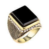 Hip Hop Resina Geometria Rhinestone Antique Gold Ring for Men