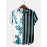 Banggood Design Men 100% Cotton Porcelain Stripe Mixed Print Short Sleeve Casual Holiday Shirts