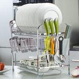 Organisateur de support de séchage de plat d'étagère de vaisselle d'étagère égouttée d'étagère à double couche