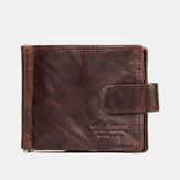 الرجال جلد طبيعي RFID 8 بطاقة فتحات Bifold محفظة محفظة سستة عملة حقيبة
