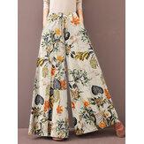 Feminino floral vintage Planta estampa com cordão perna larga Calças com bolso