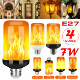 AC85-265V E27 7W Flame Effect Fire Light Bulb Gravity Sensor 4 Modes Flickering Lamp
