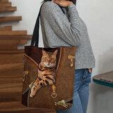 Women Canvas Cute 3D Three-dimensional Vision Cat Pattern Shoulder Bag Handbag Tote