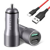 Chargeur voiture BlitzWolf® BW-SD2 30W QC3.0 + BW-TC14 3A USB Type-C Câble noir pour iPhone 12 11 XR X pour Samsung Galaxy Note S20 ultra Huawei Mate40 OnePlus 8 Pro