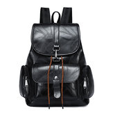 Women Solid Faux Leather Casual Backpack Travel Shoulder Bag
