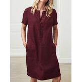 % 100 Pamuk Kadın Gevşek Keten Yuvarlak Boyun Kısa Kollu Düğme Elbise Cepli