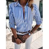 Kadın Çizgili Baskı Yaka Uzun Kollu Tasarım Gömlek