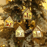Christmas Decorative Warm White Light LED Chalet Luminous Cute Wood House Christmas Tree Hanging Decoration Ornaments for Home Decor
