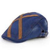 Muži Washed Beret klobouk přezka Papírový klobouk Twill klobouky Newsboy Kabbie Gentleman Visor Caps