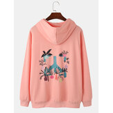 Mens Letter Cartoon Plant Back Print Baumwolle Casual Drop Schulter Hoodies