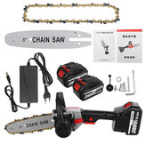 VIOLEWORKS 288VF 8 Inch Cordless Electric Chain Saw Wood Cutter One-hand Saw Woodworking Tool Set With 1/2 Batteries