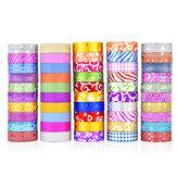 50 STKS Glitter Washi Tape Briefpapier Scrapbooking Decoratieve Plakband DIY Kleur Afplakband Schoolbenodigdheden