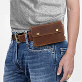 Men Genuine Leather Retro 6.3 Inch Phone Bag Holder Waist Belt Bag