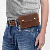 Hombres Piel Genuina Retro 6.3 Inch Teléfono Bolsa Soporte de cintura Cinturón Bolsa